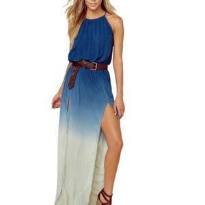 Blue Life Ombre 2 Slit Halter Casual Maxi Dress